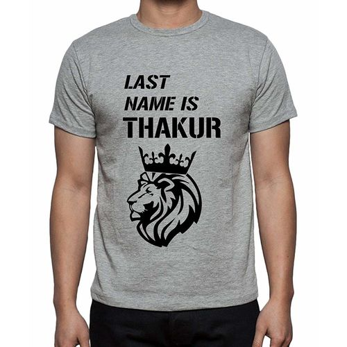 Double F DOUBLE F ROUND NECK HALF SLEEVE LIGHT GREY COLOR THAKUR PRINTED T-SHIRTS