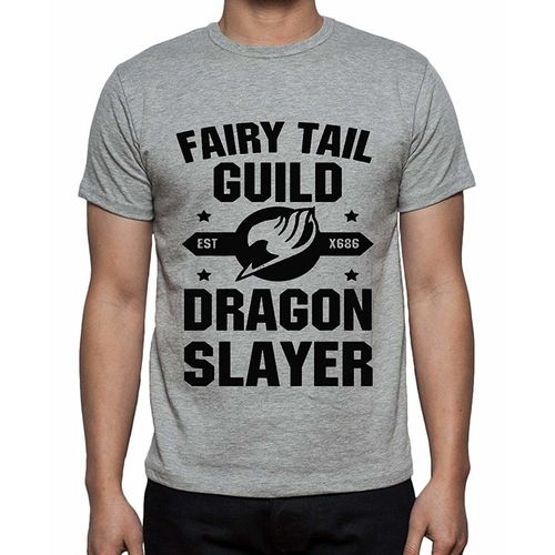 Double F DOUBLE F ROUND NECK HALF SLEEVE LIGHT GREY COLOR DRAGON SLAYER PRINTED T-SHIRTS