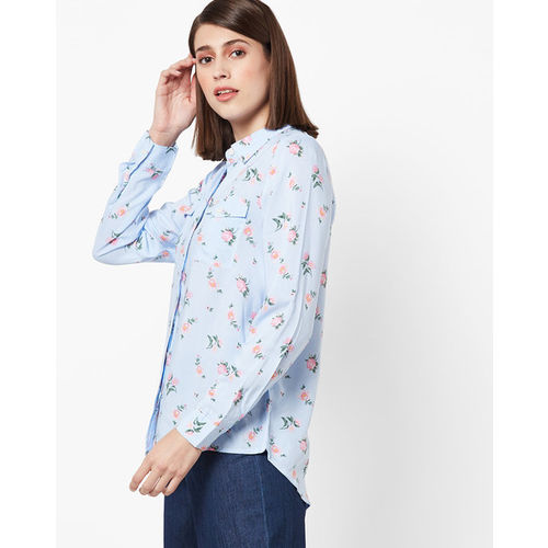 DNMX Floral Print Shirt with Buttoned Flap Pockets