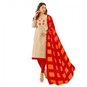 f009d875844 Swaron Women s Beige and Red Colored Brasso Cotton Thread Embroidery  Unstitched Churidar Suit