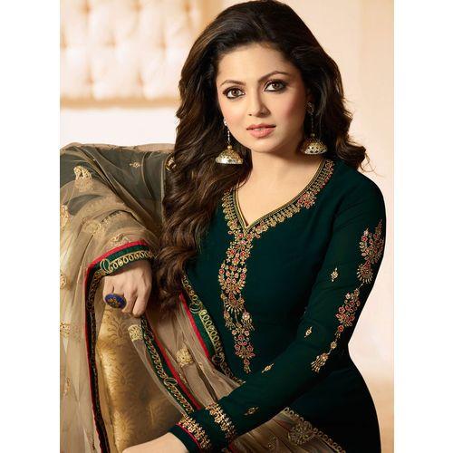 Salwar Soul Women's Drashti Dhami Designer Green Color Embroidered Work Straight Salwar Suit