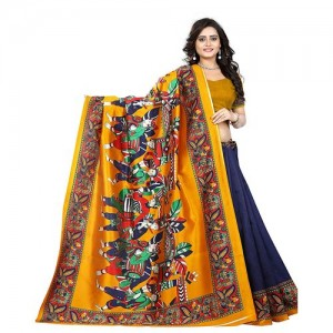 Indian Beauty Women's Mysore Silk Kalamkari Printed Saree (Blue)