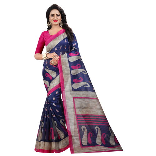 433e520412b0dd Buy Indian Beauty Women's Blue Printed Art Silk With Blouse Saree online |  Looksgud.in