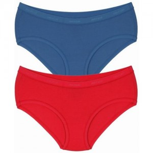 Amante Women's Hipster Dark Blue, Red Panty(Pack of 2)