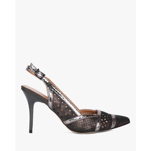 AJIO Shimmery Panelled Pointed-Toe Stilettos