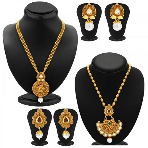 Sukkhi Gold Plated Alloy Necklace Set For Women (Set of 2)