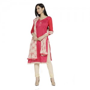 926d047691b Swaron Women s Red and Beige Colored Chanderi Silk Unstitched Solid Churidar  Suit with Embroidered Dupatta