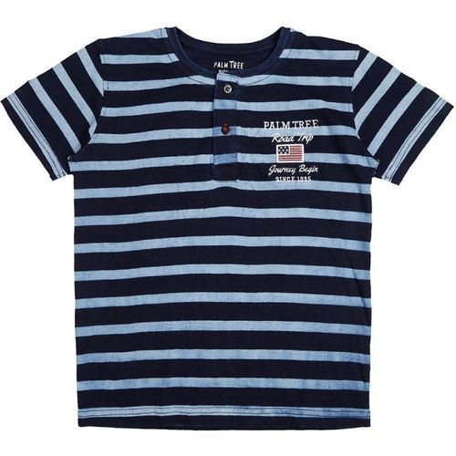Palm Tree Boys Striped Cotton T Shirt(Dark Blue, Pack of 1)