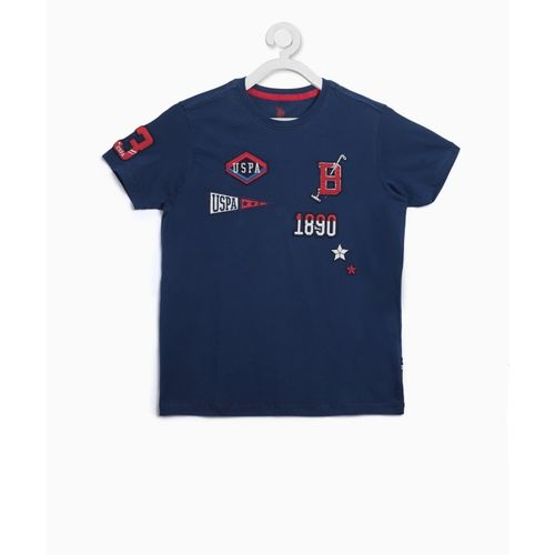 US Polo Kids Boys Applique Cotton T Shirt(Dark Blue, Pack of 1)