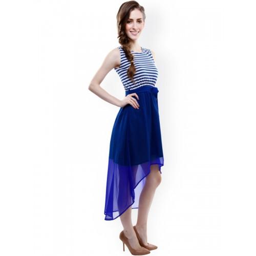 Miss Chase Blue Striped Midi Skater Dress