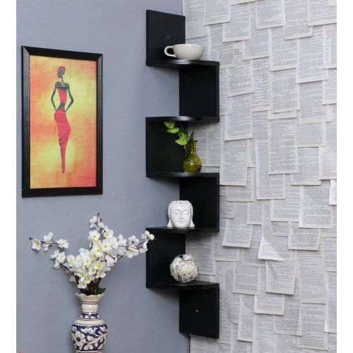 MartCrown Corner rack shelf Wooden Wall Shelf(Number of Shelves - 5, Black)