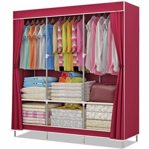 c89c2aa20e0 Buy FurnCentral 2 Door PP Collapsible Wardrobe(Finish Color - Wine Red)  online