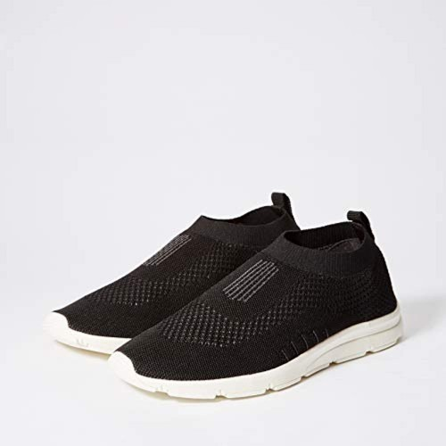 Bourge Black Mesh Slip-on Running Shoes
