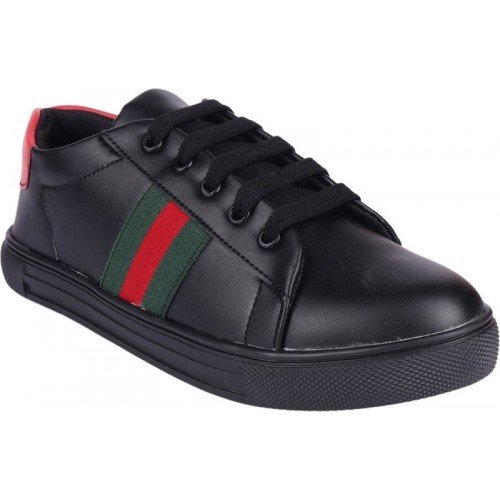 Shoetopia Black Synthetic Sneakers