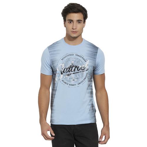 Bonaty BONATY Light Blue Lycra Cotton Blend Round Neck Half Sleeves Printed T-Shirt For Men