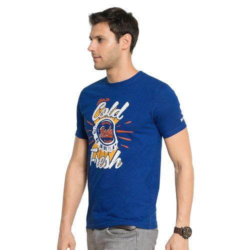 Zorchee Men's Round Neck Half Sleeve Cotton T-Shirts - Royal Blue