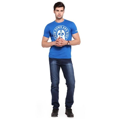 Zorchee Men's Round Neck Half Sleeves Printed Cotton T-Shirts - Royal Blue
