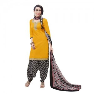 Aaina Yellow Cotton Printed Suit (SB-2839) (Unstitched)