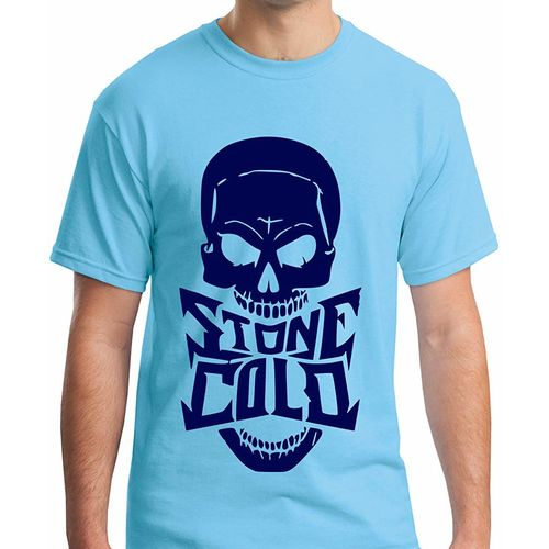 Double F DOUBLE F ROUND NECK HALF SLEEVE BLUE COLOR STONE COLD PRINTED T-SHIRTS