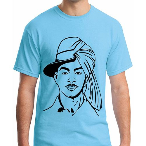 Double F DOUBLE F ROUND NECK HALF SLEEVE BLUE COLOR BHAGAT SINGH PRINTED T-SHIRTS