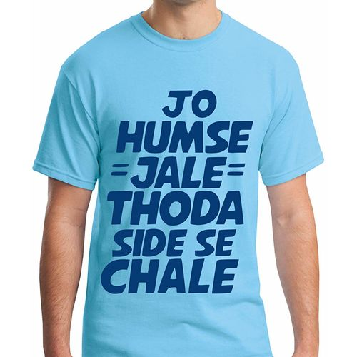 Double F DOUBLE F ROUND NECK HALF SLEEVE BLUE COLOR JO HUMSE JALE VO THODA SIDE SE CHALE PRINTED T-SHIRTS