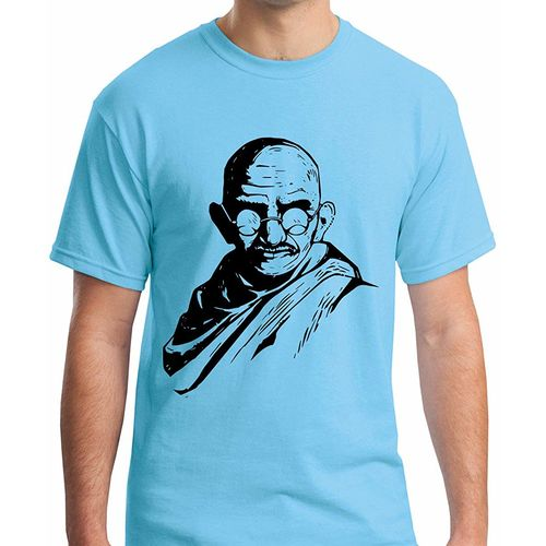 Double F DOUBLE F ROUND NECK HALF SLEEVE BLUE COLOR GANDHIJI PRINTED T-SHIRTS