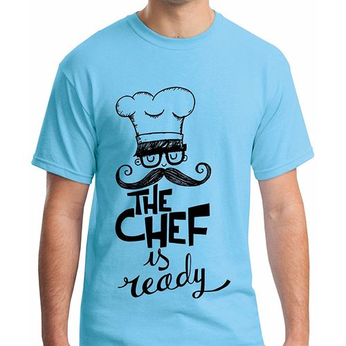 Double F DOUBLE F ROUND NECK HALF SLEEVE BLUE COLOR THE CHEF IS READY PRINTED T-SHIRTS