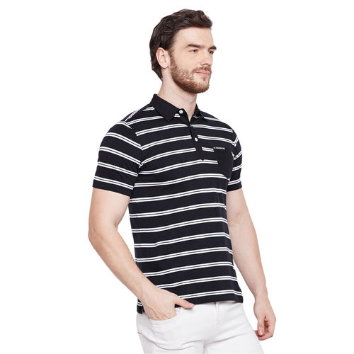 LE BOURGEOIS Le Bourgeois Black and White Stripe Collar T-shirt for Men