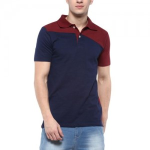 Urbano Fashion Men's Maroon, Navy Half Sleeve Cotton Polo T-Shirt (Size : Small)