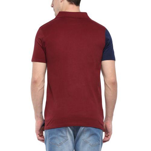 Urbano Fashion Men's Maroon, Navy Half Sleeve Cotton Polo T-Shirt (Size : Small)