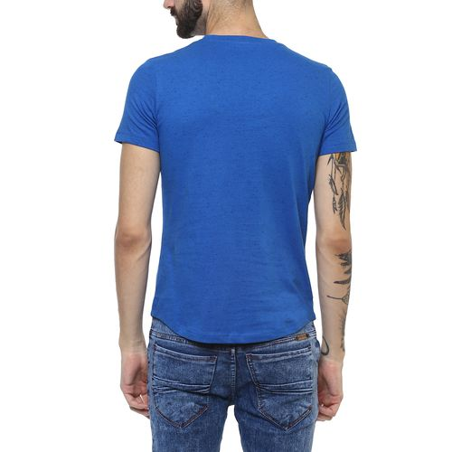 Urbano Fashion Men's Blue Zippered Cotton Slim Fit T-Shirt