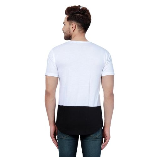 Pause PAUSE White Solid Cotton Round Neck Slim Fit Half Sleeve Men's T-Shirt
