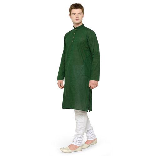 RG Designers Green White Full Sleeves Plain Kurta Pyjama Set For Men