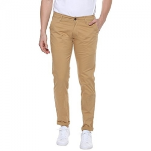 Urbano Fashion Beige Cotton Solid Slim Fit Casual Trouser