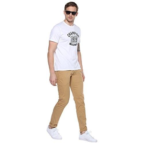 Urbano Fashion Beige Cotton Solid Slim Fit Casual Trouser