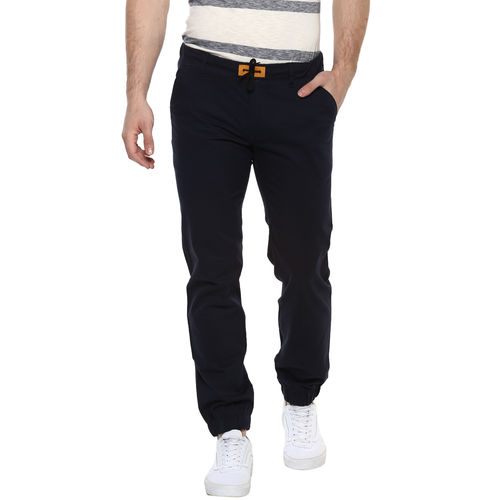 Urbano Fashion Men's Navy Slim Fit Stretch Casual Chino Joggers