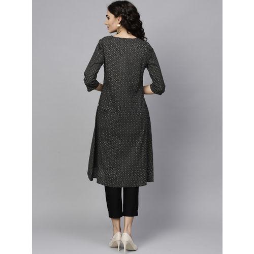 Juniper Women Black & Beige Printed A-Line Kurta