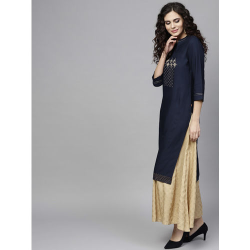 Juniper Women Navy Blue & Gold-Toned Embroidered Straight Kurta