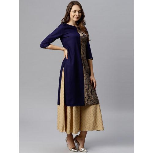 Juniper Women Navy Blue & Golden Printed Straight Kurta