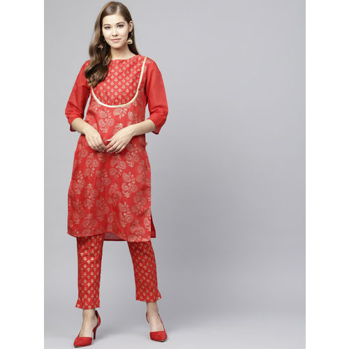 Juniper Women Red & Gold-Toned Printed Straight Kurta