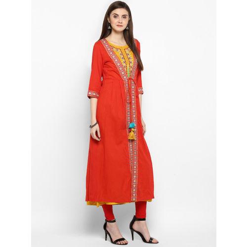 Juniper Women Red & Mustard Embroidered A-Line Kurta