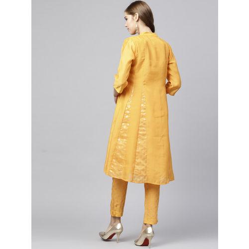 Juniper Women Mustard Yellow Printed Chanderi Silk A-Line Kurta