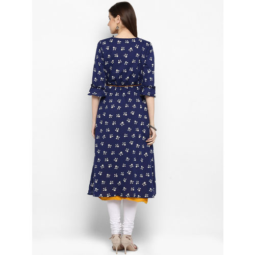 Juniper Mustard & Navy Blue Cotton Mirror Work A-Line Kurta