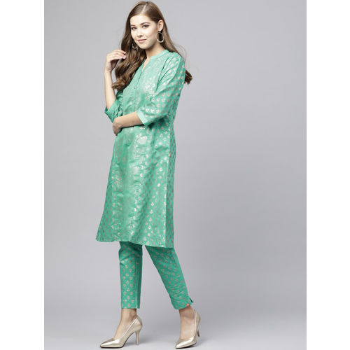 Juniper Women Green & Gold-Toned Printed A-Line Chanderi Silk Kurta