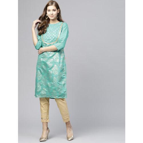 Juniper Women Green & Gold-Toned Printed Straight Kurta