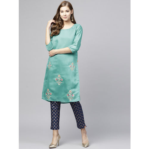 Juniper Women Green Embroidered Chanderi Silk Straight Kurta
