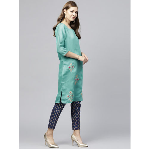 Juniper Women Green Embroidered Chanderi Silk Straight Kurta