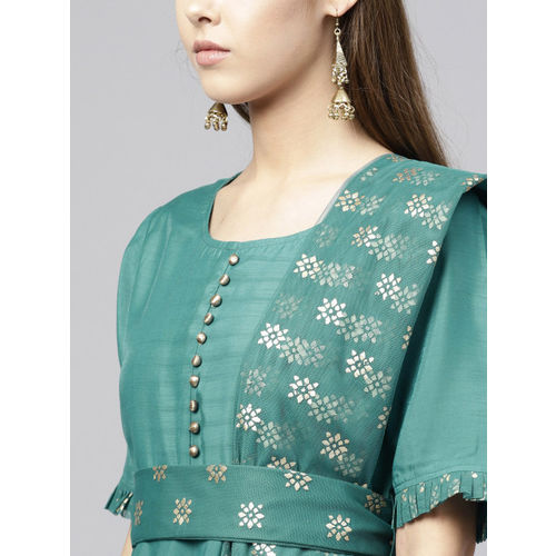 Juniper Women Green Solid A-Line Kurta
