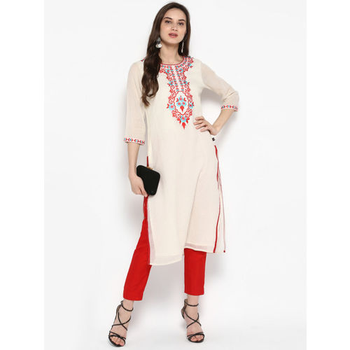 Juniper Women Off-White & Red Embroidered Straight Kurta
