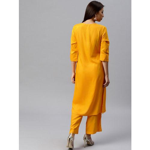 Juniper Women Yellow Solid A-Line Kurta